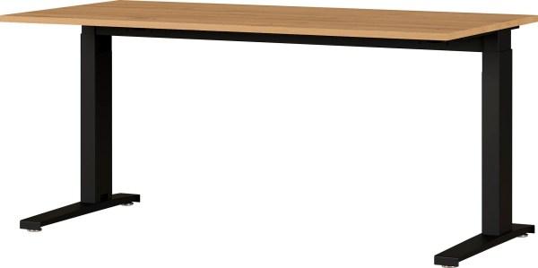 Zit sta bureau Agenda B160xH67-87xD80 cm in grandson eiken met zwart