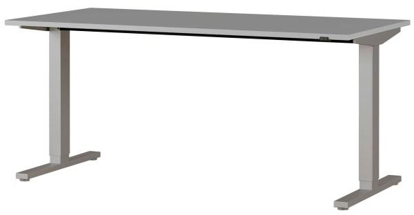 Zit sta bureau Agenda B160xH72-120xD80 cm in lichtgrijs met zilver