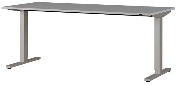 Zit sta bureau Agenda B180xH73-120xD80 cm in lichtgrijs met zilver