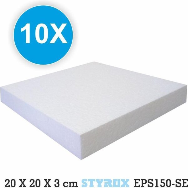 10 x Piepschuim platen 20 x 20 x 3 cm - eps150 - hobbybasisvoorwerp - Isomo - isolatie - plaat