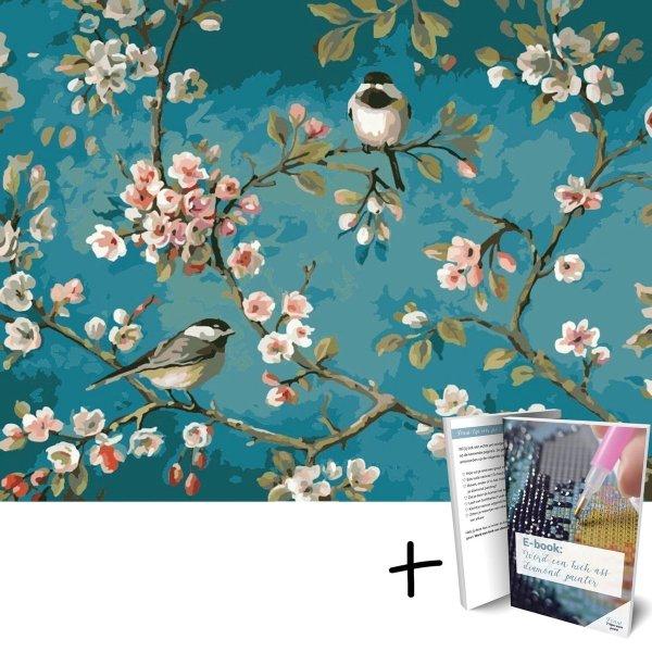 Diamond Painting Bloemen en Vogels - 40x30cm - Vierkant - Met E-book - Diamond Painting Volwassenen - Art Diamond®