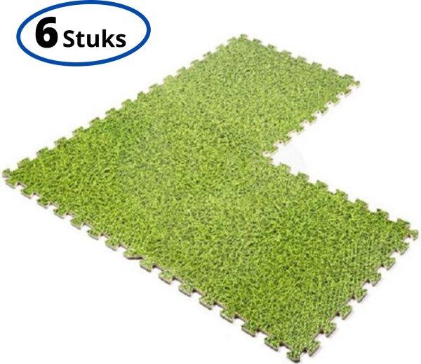 Fitness Puzzel Foam Mat Set - 6 Stuks - Puzzelmatten - Vloermatten - Fitnessmatten - Vloerbeschermer - Zwembad Vloer Tegels geschikt voor Intex - 40 x 40 x 1 cm - Gras/Groen