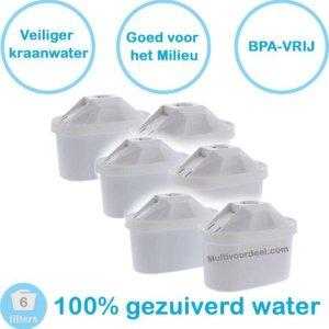 PREMIUM voor BRITA MAXTRA Waterfilter 6 Stuks Water filter patronen voor 6 Maanden Gezuiverd Water -Waterontharding -Waterontkalker -Waterzuivering Brita filterpatronen BPA-Vrij
