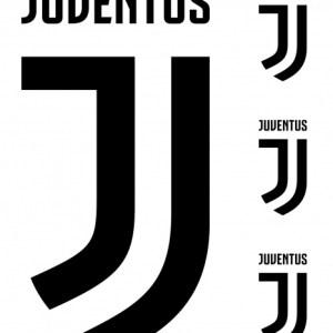 Juventus muursticker logo 2 stickervellen zwart/wit