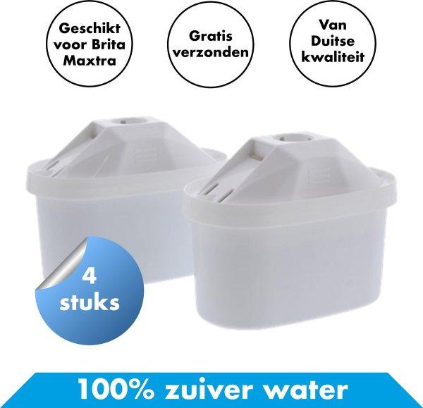 Premium Filterpatronen Geschikt voor BRITA MAXTRA - 4 Stuks - Waterfilter voor BRITA MAXTRA+ - Voor Waterfilterkan XL - Water Filter Patronen - Waterontharder - Waterontkalker - 4 Pack - Waterzuivering Kraanwater - Passend bij BRITA XL Kannen