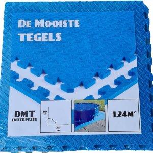Zwembad Tegels - EVA Foam - 0.62m x 0.62m x 1cm - Pak van 4 Stuks - 1.24M² - Blauw - Zwembad Grondzeil - Vloer Tegel - Extra Dik!