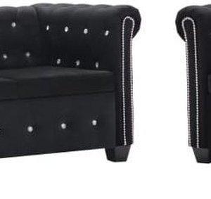 vidaXL Bankstel Chesterfield-stijl fluwelen bekleding zwart 2-delig