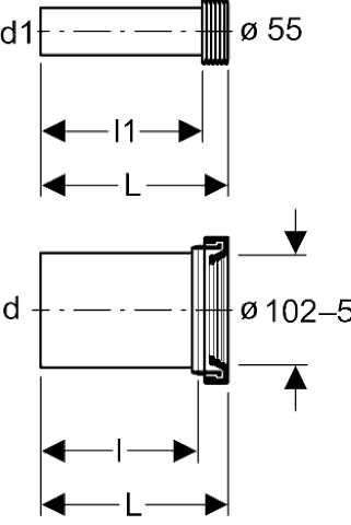 Geberit aansluitgarnituur PE 9x18,5 cm