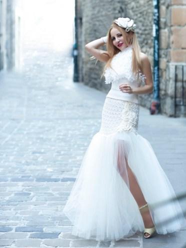 Lindo y exuberante falda de crochet y tul, es una propuesta moderna y deslumbrante para novias con mucha actitud.