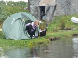 Charlotte Gannet needs to know the weather before putting up the tent somewhere