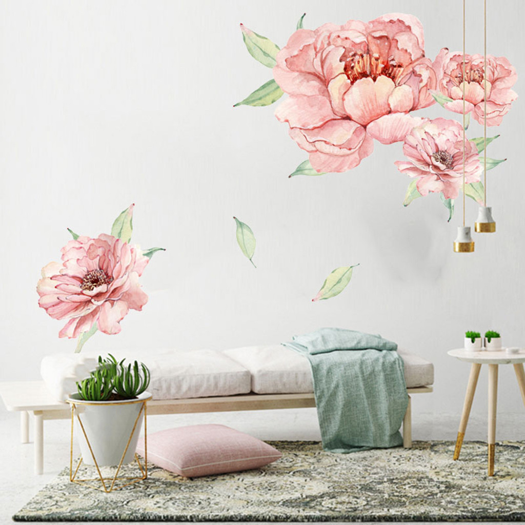 Peony Rose Flowers Wall Stickers Art Nursery Decals Kids Room Home Decoration