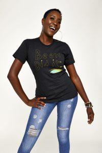 Female model in black shirt
