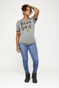 Female model in grey shirt front