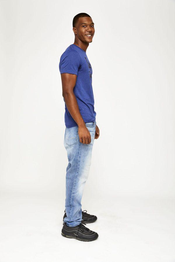 Male model in blue side shot