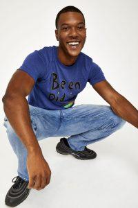 Male model in blue shirt
