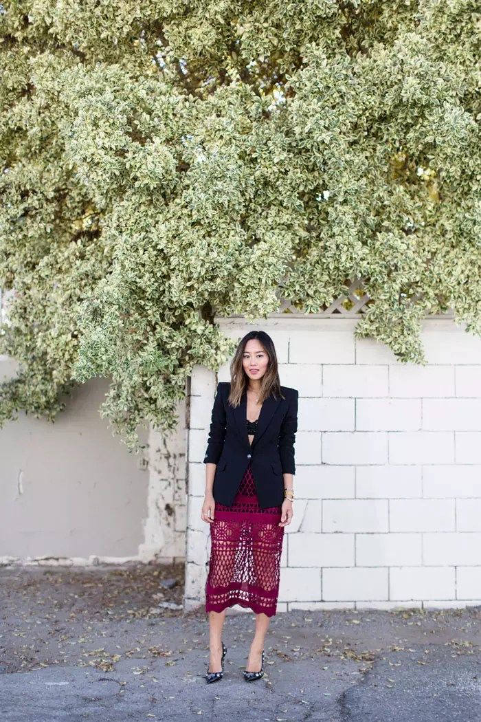 aimee_song_red_midi_skirt_black_blazer_embellished_pumps_designer_shoes_alleygirl_newyork_blogger