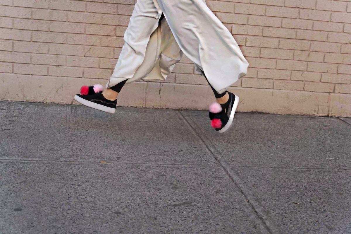 DIY Pom Pom Sneakers