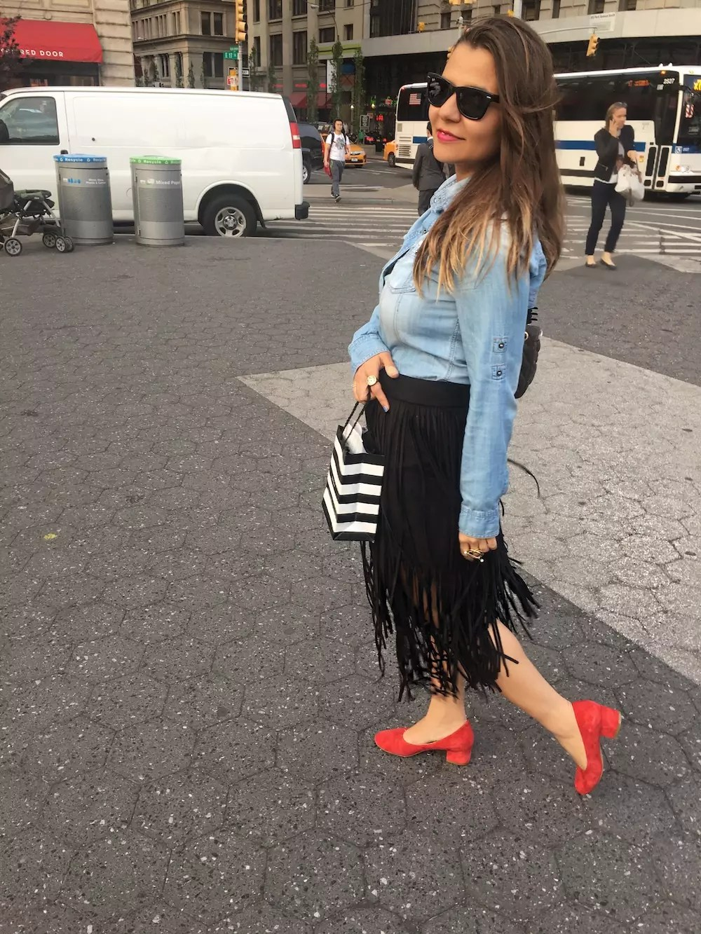 fringe-skirts-red-shoes-and-denim-shirt-alley-girl-new-york-fashion-blogger-5
