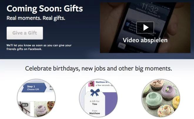 Facebook Gifts - Freunden auf Facebook reale Gegenstände schenken
