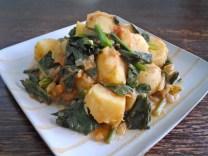 Curried Potatoes & Tatsoi