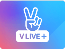 White V Live + logo with a pink, purple, and blue gradient background