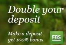 Double your deposit with 100% bonus Forex