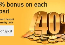 40% Forex bonus for each deposit