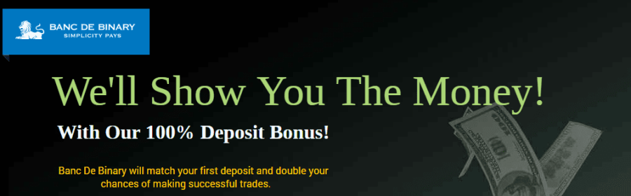 Banc De Binary 100% Tradable Deposit Bonus