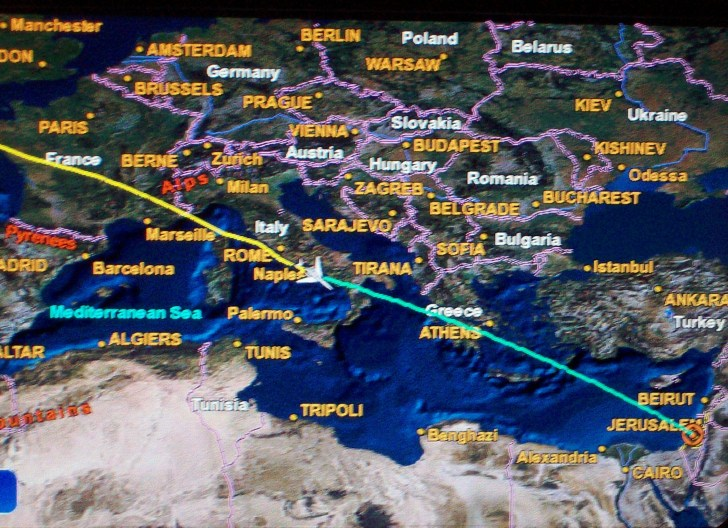 Map on our way to Israel in the plane