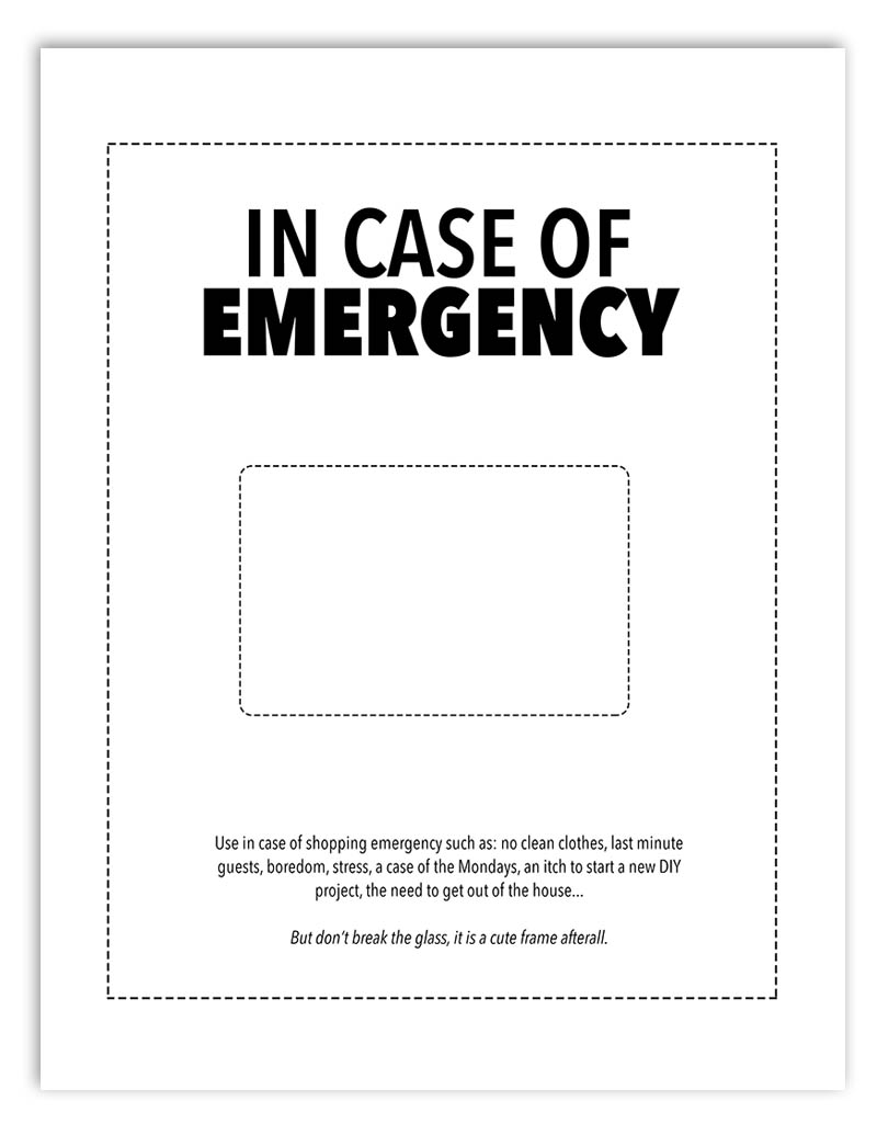 picture regarding In Case of Emergency Break Glass Printable called Giftcard Printables - All for the Recollections