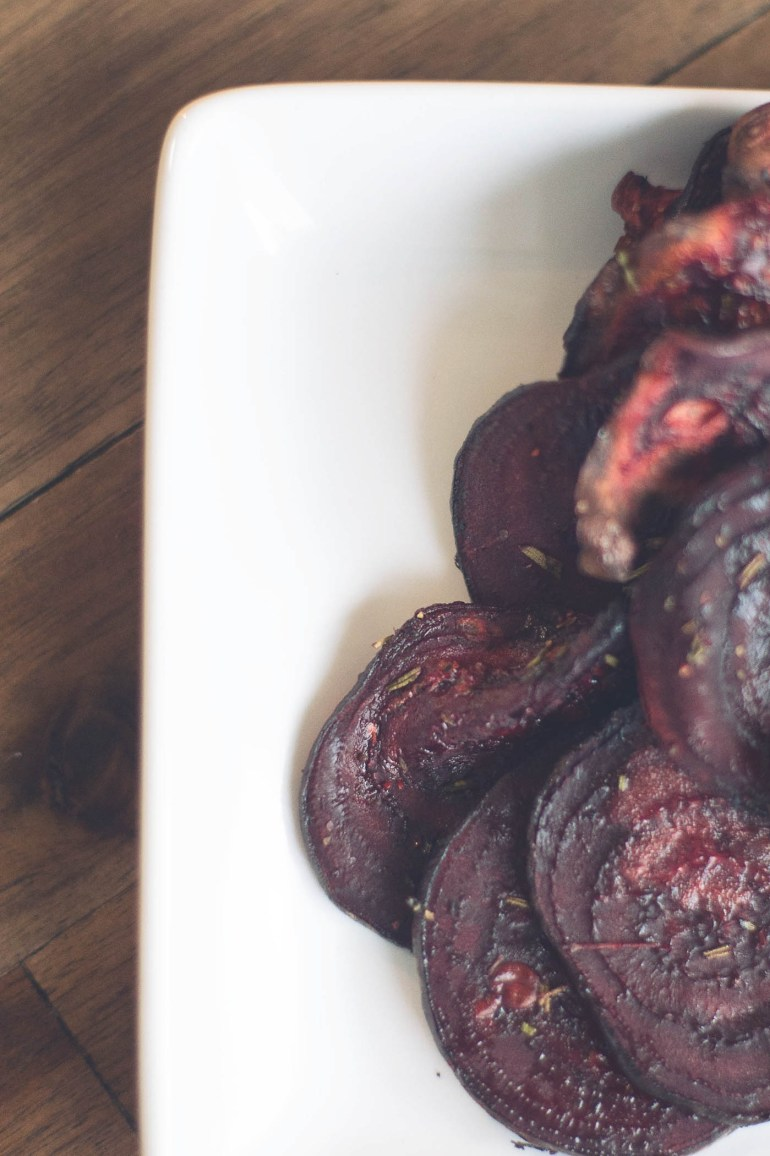Beet chips with fresh herbs - surprisingly good!