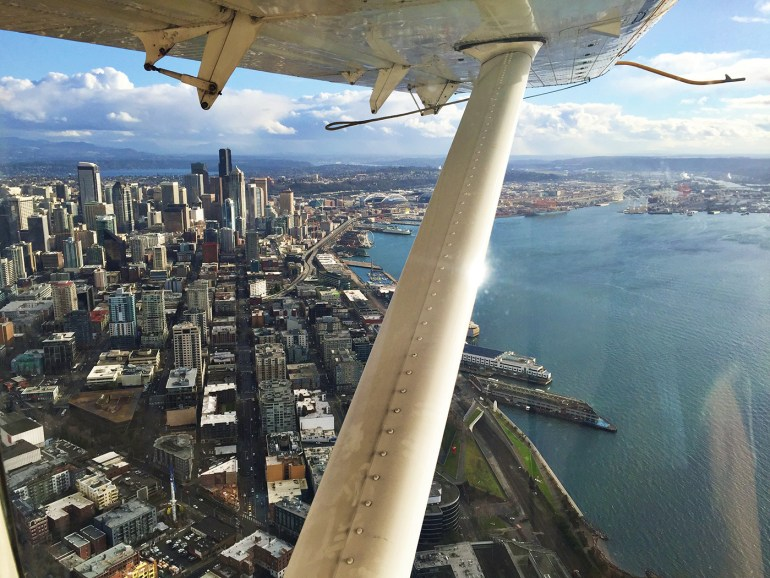 Flying in a seaplane to San Juan Islands
