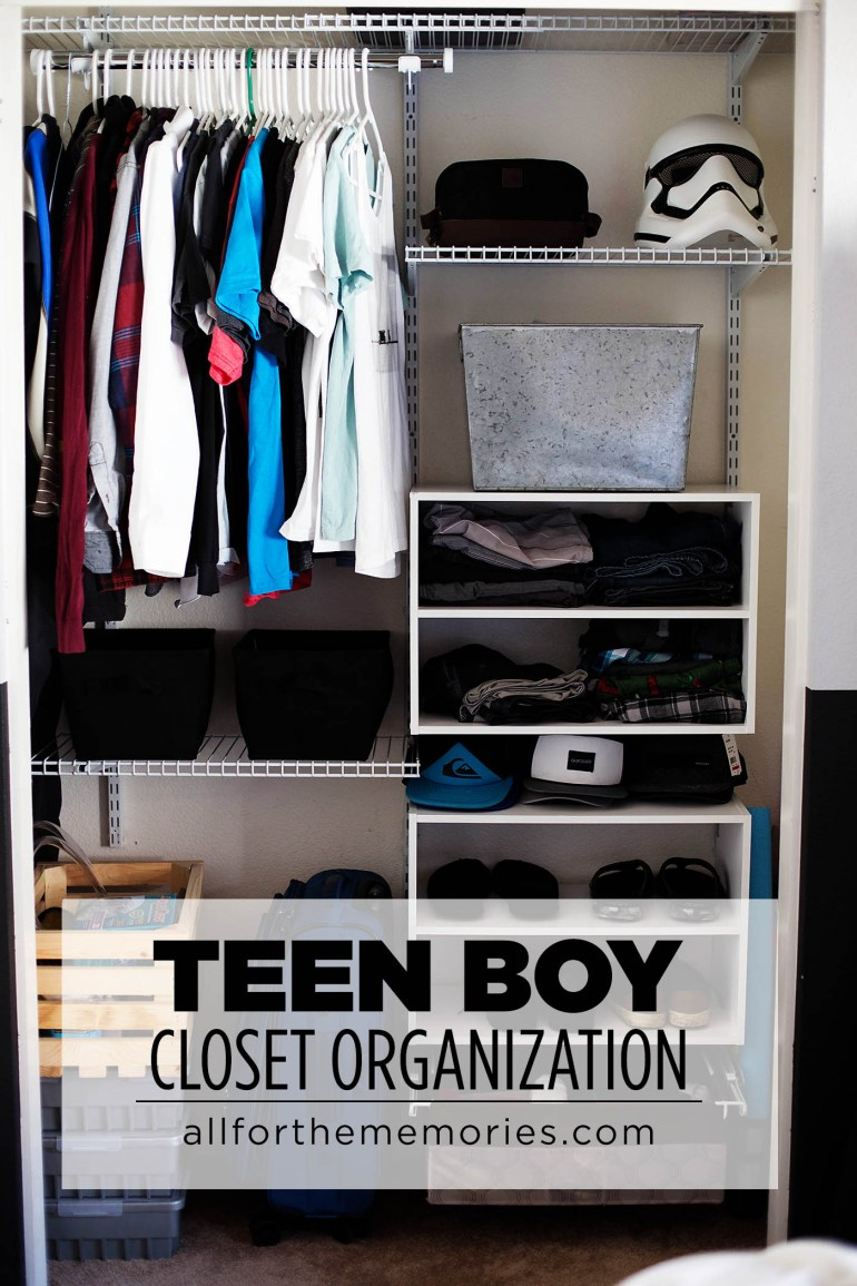 Teen boy closet organization and the art of the clothes roll