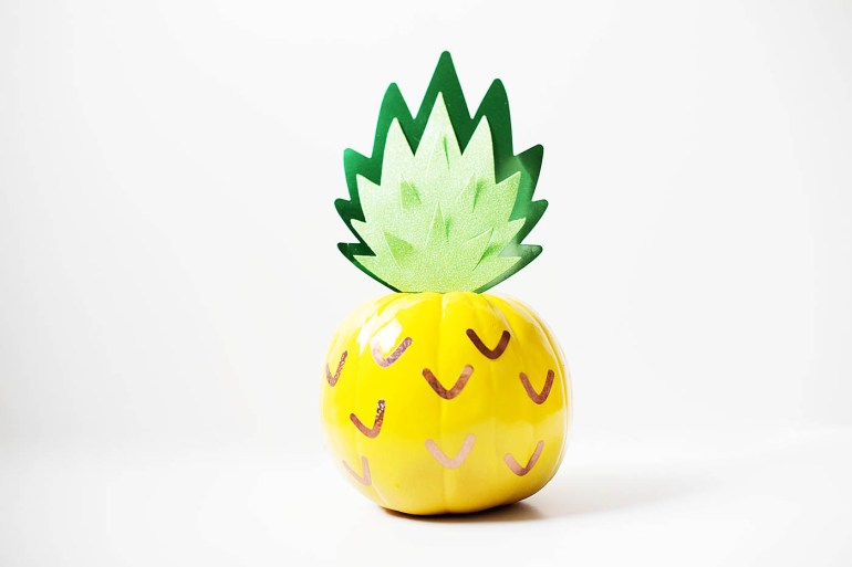 A pumpkin decorated like a pineapple!