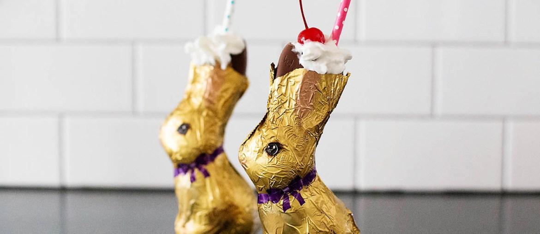 Chocolate bunny Easter Shake - a shake served inside of a chocolate bunny! So cute!
