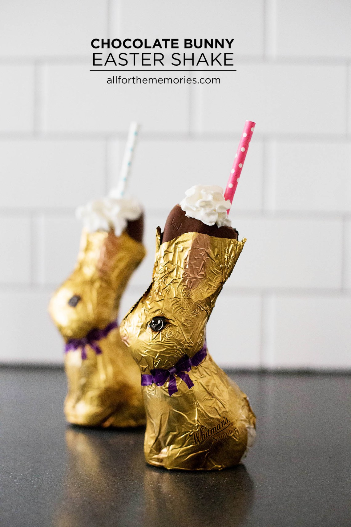 Chocolate bunny Easter Shake - a shake served inside of a chocolate bunny! So cute! Best Easter Ever with www.HealthyFamilyandMe.com