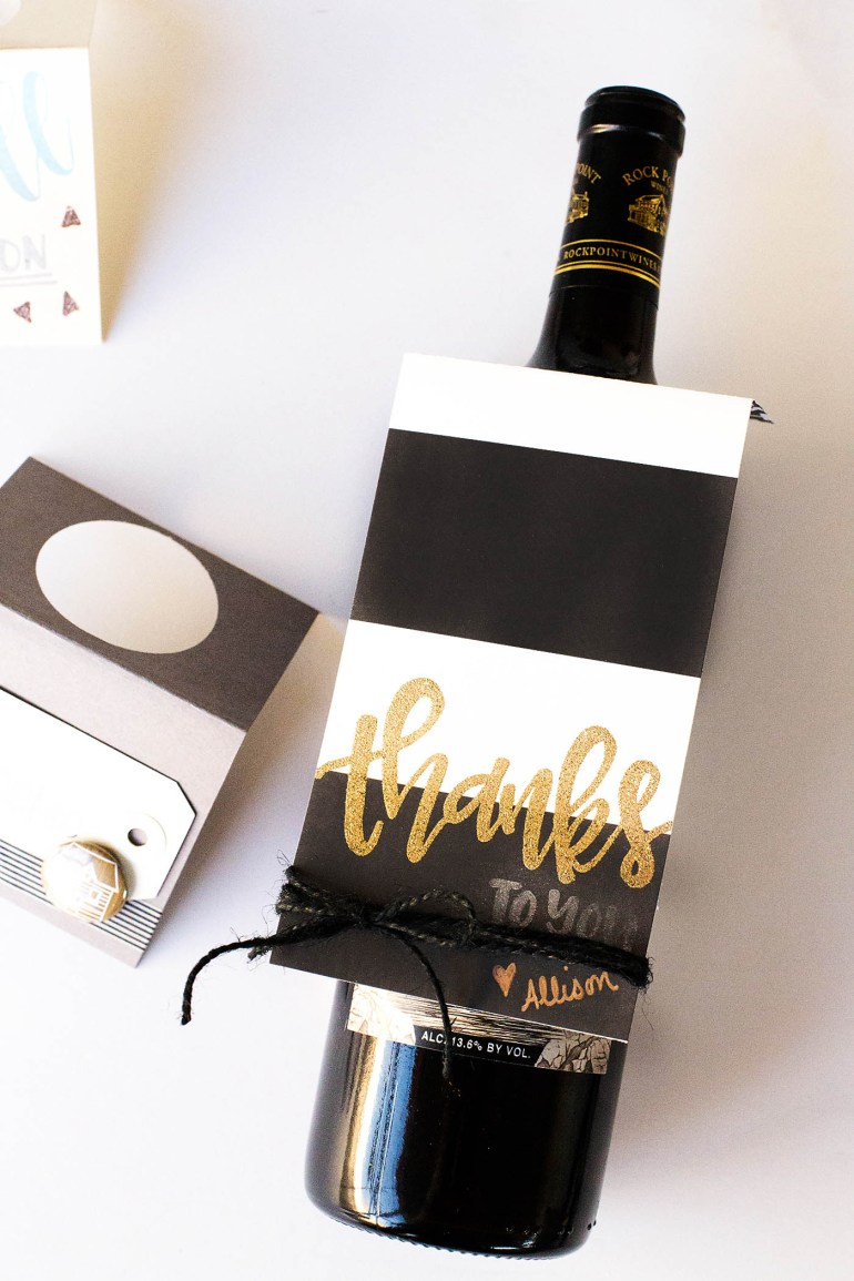 Easy hand lettered stamped wine or gift tags