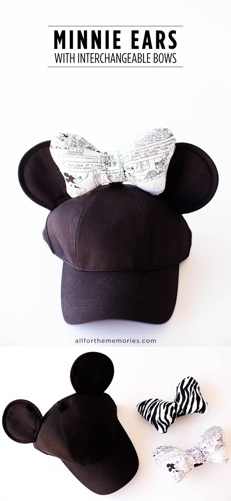 DIY Minnie Ears hat with interchangeable bows