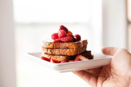 Gluten free hazelnut berry french toast
