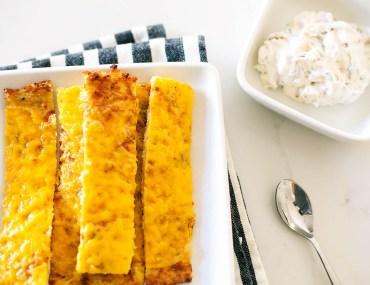 Low carb, gluten free, cheesy cauliflower breadsticks!