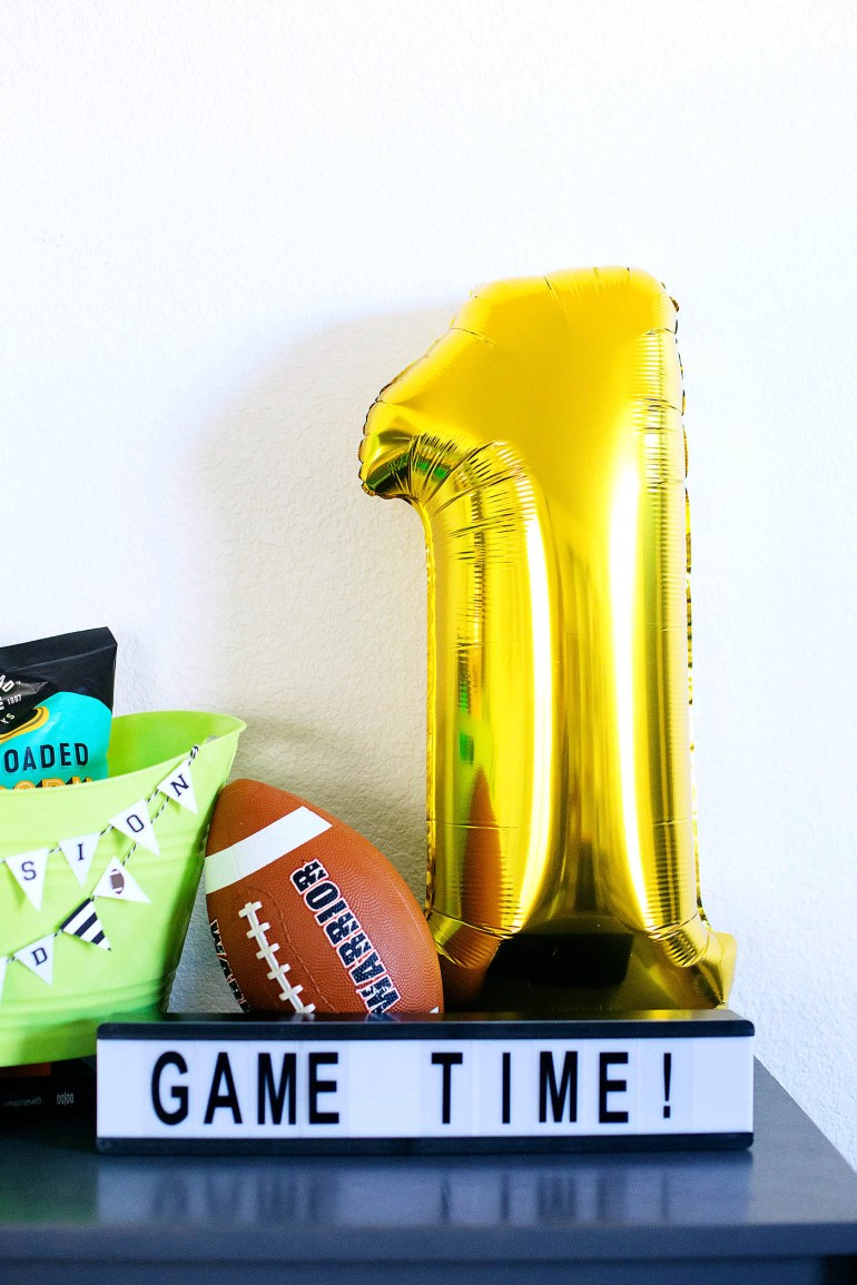 Big Game Hostess Gift Basket with Party Decor & Snacks On a Budget