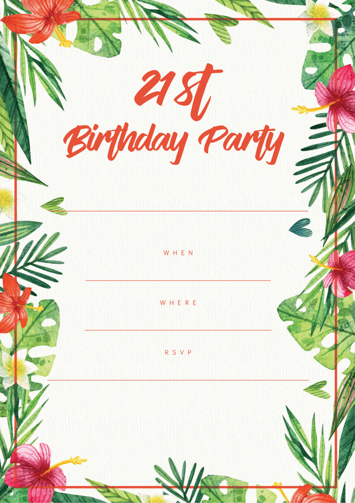 Red and green floral 21st birthday invite design