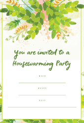 Housewarming party invitation - Green leafy theme