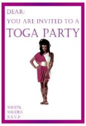 man in toga invitation