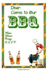 BBQ chefs hat invitation