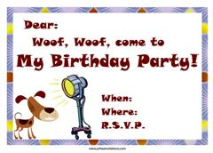 Free animal birthday invitations all free invitations a dog and a fan party invitation filmwisefo Choice Image