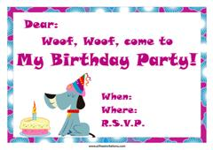 Free animal birthday invitations all free invitations dog with party hat and birthday cake invitation design filmwisefo Choice Image