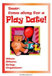 Playdate invitation teddy bear balloon
