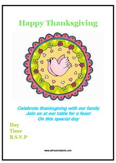 thanks giving party invitations free
