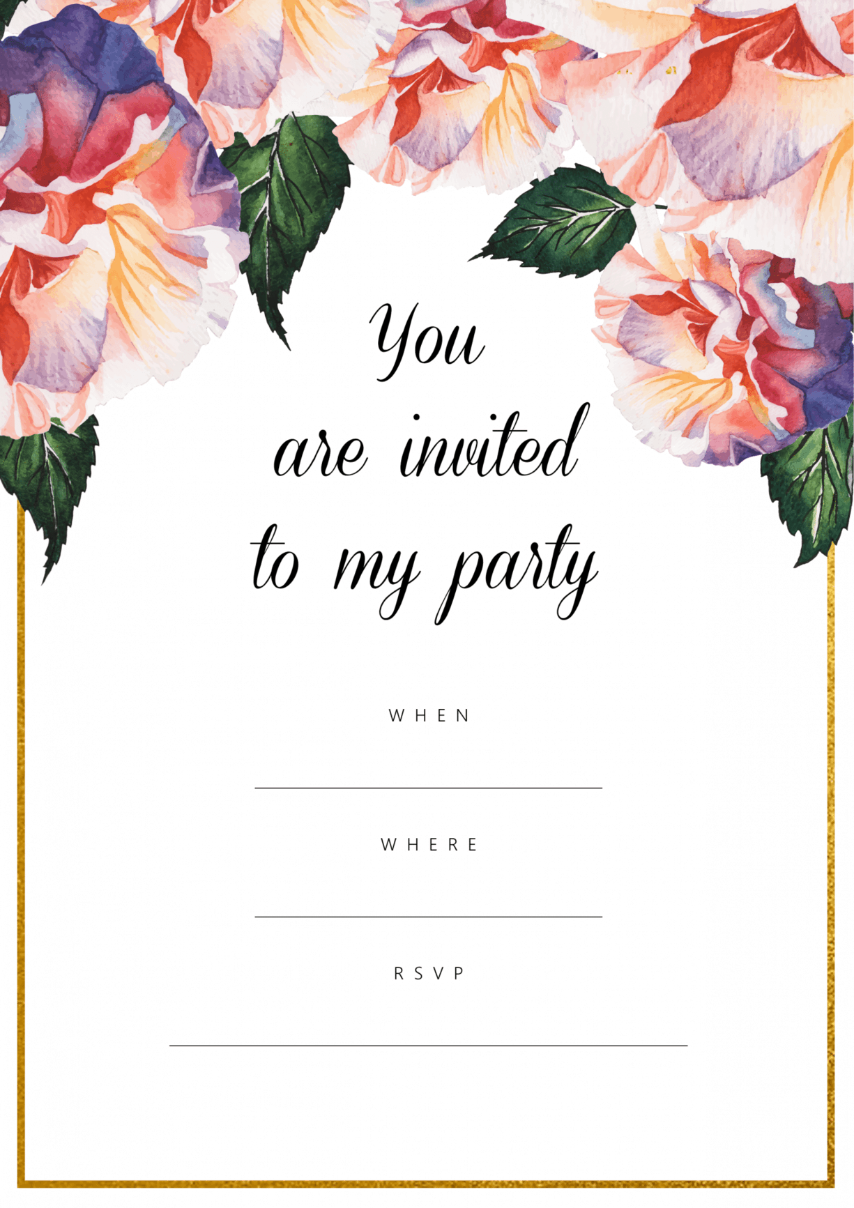 Floral Watercolour Party Invitation Free Printable
